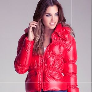 Bebe Down Puffer Jacket In Red